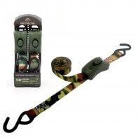 500kg - 3m - 25mm - en 1 pièce - boucle à came et crochets S - Vert Armée - 2pcs
