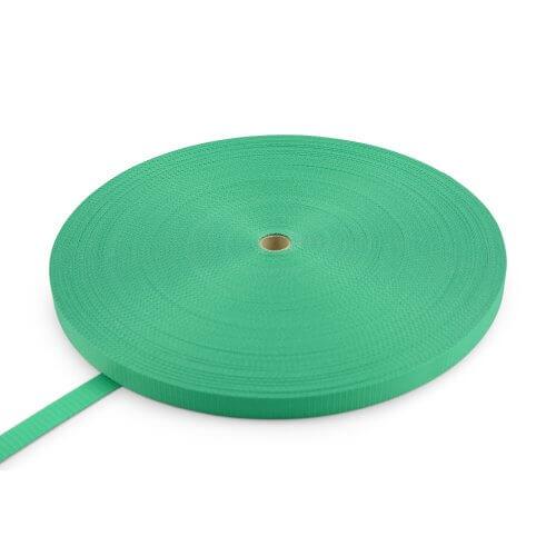 Polyester band 25 mm - 100 m op rol - zonder strepen-Groen